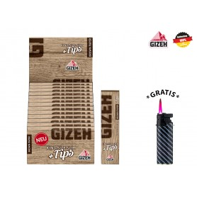 GIZEH Brown King Size Slim + Tips 26x34er + 1 Sturmfeuerzeug
