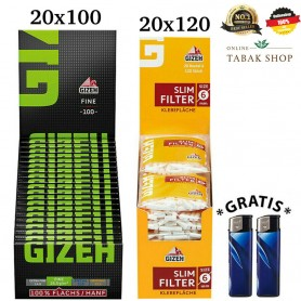20x120er Gizeh Slim Filter & 20x100er Gizeh Fine Green Papers Blättchen