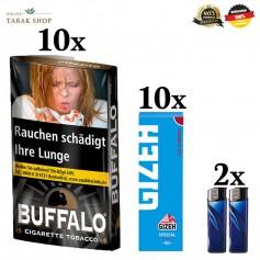10x40g Buffalo Feinschnitttabak Black 40g + 10x50er Gizeh Special Blau Blättchen 2 Feuerzeuge