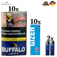 10x40g Buffalo Feinschnitttabak Blue 40g + 10x50er Gizeh Special Blau Blättchen 2 Feuerzeuge