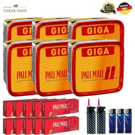 6 x Pall Mall Allround Red Mega Box 185g, 2000 Hülsen, 2 Feuerzeuge