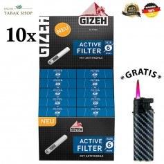 10x34er Gizeh Activ Filter Slim 6mm Zigarettenfilter Joint Tips (340 Stück)