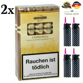 2x Dominico Churchill 20 Zigarren + 4 JET Turbo Sturmfeuerzeuge