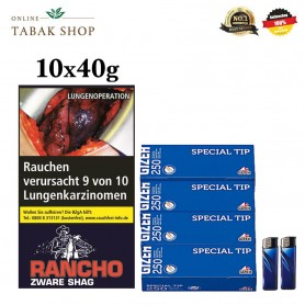 10x40g Rancho Zware Shag 1000 Gizeh Special Hülsen 2 Feuerzeuge