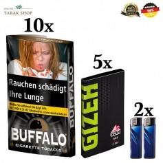 10x40g Buffalo Feinschnitttabak Black 40g + 5x100er Gizeh Fine Green Blättchen 2 Feuerzeuge