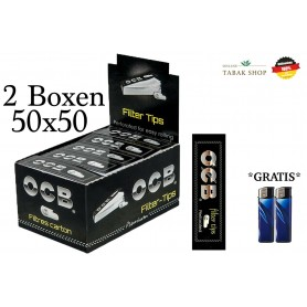 50x50er OCB Filter Tips Heftchen + 2 Feuerzeuge (2 Boxen) Perforated