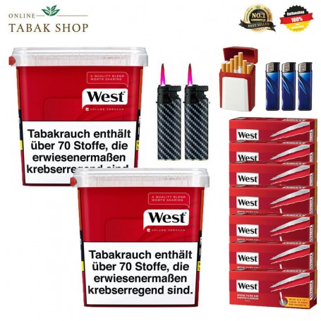 2 x West Red Volumentabak 315g, 1000 West Extra-Hülsen, 3 Feuerzeuge