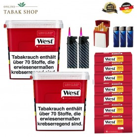 2 x West Red Volumentabak 315g, 1000 West Hülsen, 3 Feuerzeuge