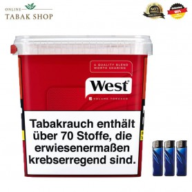 1x West Red Volumen Tabak 315g + 3 Feuerzeuge