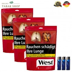 3x West Red Volumen Tabak 150g + 3 Feuerzeuge
