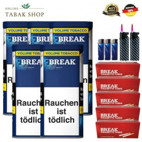 5 x Break Blau Volumentabak 130g, 1200 Break Hülsen, Etui, 3 Feuerzeuge