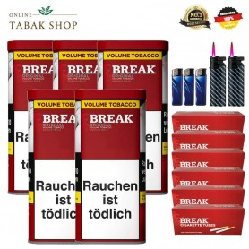 5 x Break Original Volumentabak 130g, 1000 Break Hülsen, Etui, 3 Feuerzeuge