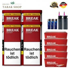 4 x Break Original Volumentabak 120g, 1000 Break Hülsen , 2x Feuerzeuge , 1 Sturmfeuerzeug