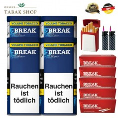4 x Break Blau Volumentabak 120g, 1000 Break Hülsen , 2 Sturmfeuerzeuge,1 Gizeh Etui