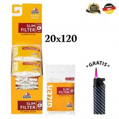 GIZEH Slim Filter 6mm 20x120er + 1 Sturmfeuerzeug