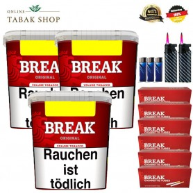 3x Break Original Volumentabak 250g , 1400 Break Hülsen , 4x Feuerzeuge , 2 Sturmfeuerzeuge