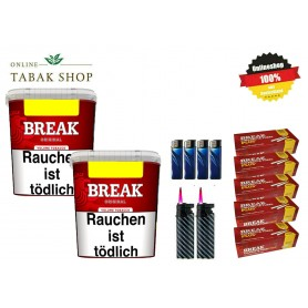 2x Break Rot Volumentabak 250g ,1000 Break Plus Hülsen , 4 Feuerzeuge , 2 Sturmfeuerzeuge