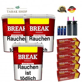 3x Break Original Volumentabak 250g , 1600 Break Plus Hülsen , 3x Feuerzeuge , 2 Sturmfeuerzeuge