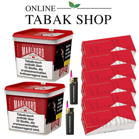 Marlboro Crafted Selection Volumentabak 2 x 270g Eimer Sparpaket mit 1.200 Marlboro Red Hülsen
