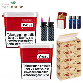West Red Volumentabak (2 x 260g) + 1.250 OCB Organic Hülsen + 3 Feuerzeuge + 2 Sturmfeuerzeuge + 1 GIZEH Etui