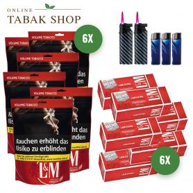 L&M Volumen Tabak Red Giga Beutel (6 x 125g) + 1.500 L&M Red Extra Hülsen + 3 Feuerzeuge + 2 Sturmfeuerzeuge - 154,70€