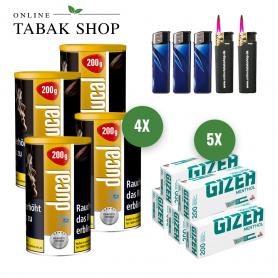 Ducal Gold Tabak (4 x 200g) + 1.000 GIZEH Menthol Hülsen + 3 Feuerzeuge + 2 Sturmfeuerzeuge