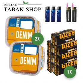 2x Denim Volumentabak 290g ,1400 Gizeh Extra Hülsen  3x Feuerzeuge , 2 Sturmfeuerzeuge