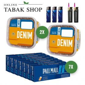 Denim Volumentabak (2 x 290g) + 1.400 Pall Mall Blue Xtra Hülsen + 3 x Feuerzeuge + 2 Sturmfeuerzeuge