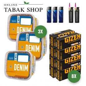 3x Denim Volumentabak 290g ,2000 Gizeh Extra Hülsen  3x Feuerzeuge , 2 Sturmfeuerzeuge