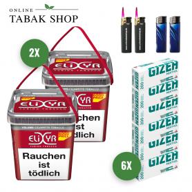 2 x Elixyr Rot Volumen Tabak 320g + 1.200 Gizeh Menthol Hülsen + 2 Feuerzeuge + 2 Sturmfeuerzeuge