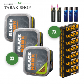 Black Hawk Volumentabak MEGA BOX (3 x 230g) + 1.400 GIZEH Full Flavor EXTRA Hülsen + 3 Feuerzeuge + 2 Sturmfeuerzeuge