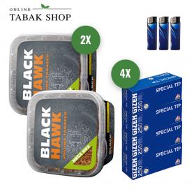 2 x Black Hawk 230g MEGA BOX Volumentabak + 1.000 GIZEH Special Tip Hülsen + 3 Feuerzeuge