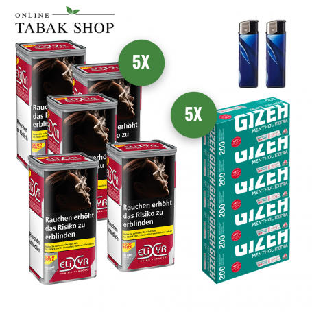 5x Elixyr Volume Tabak 130g, 1000 Gizeh Menthol Extra Hülsen, 2 Feuerzeuge