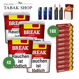 4 x Break Rot Original Volumen Tabak 230g + 2.000 Break+ Hülsen, 2 Sturmfeuerzeug, 3 Feuerzeuge, 1 Gizeh Etui