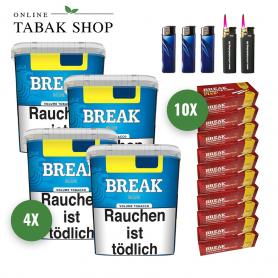 Break Blau Volumen Tabak (4 x 230g) + 2.000 Break Plus Hülsen, 2 Sturmfeuerzeug, 3 Feuerzeuge, 1 Gizeh Etui