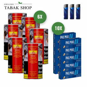 6x Moro Rot Tabak 200g, 2000 Pall Mall Blau Xtra Hülsen , 3 Feuerzeuge - 156,00€
