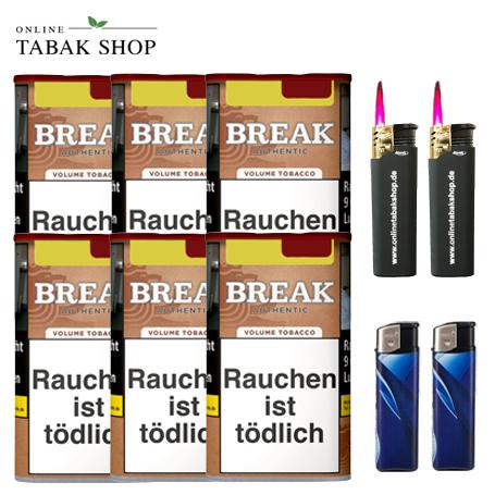 6 x Break Authentic Volumentabak 75g (ohne Zusätze) + 2 Feuerzeuge + 2 Sturmfeuerzeuge