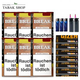 6 x Break Authentic  Volumentabak 75g (ohne Zusätze), 1000 Gizeh EXTRA Hülsen, 3 Feuerzeuge , 2 Sturmfeuerzeuge