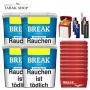 Break Blau Volumentabak Tabak (4x 230g), 2.000 Break Hülsen, 3 Feuerzeuge , 2 Sturmfeuerzeuge , 1 Gizeh Etui