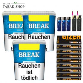 Break Blau Volumentabak (3x 230g), 1.600 Gizeh Full Flavor Extra Hülsen , 3x Feuerzeuge , 2 Sturmfeuerzeuge