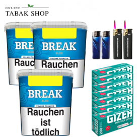 Break Blau Volumentabak (3x230g), 1600 Menthol Extra Hülsen , 3x Feuerzeuge , 2 Sturmfeuerzeuge