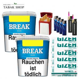 2x Break Blau Volumentabak 230g ,1000 Gizeh Menthol Hülsen , 4 Feuerzeuge , 2 Sturmfeuerzeuge ,1 Gizeh Etui