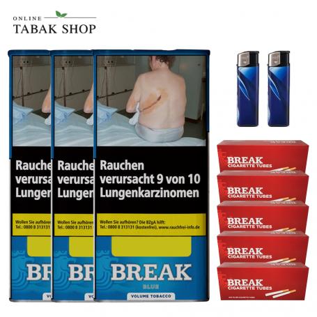 3 x Break Blau Volumentabak 115g, 1000 Break Hülsen 2 Feuerzeuge