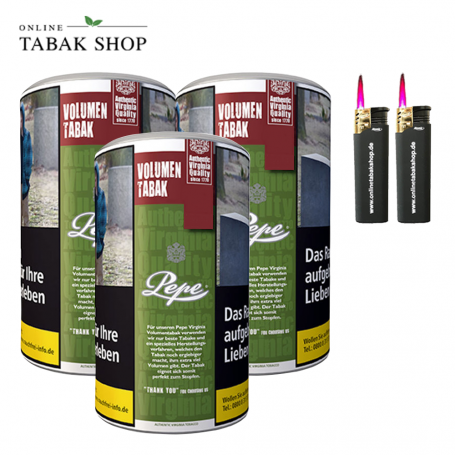 3 x Pepe Rich Green Volumentabak Tabak 85g +2 Turbo Sturmfeuerzeuge