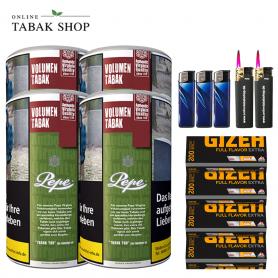 4 x Pepe Rich Green Volumentabak Tabak 85g + 800 Gizeh Flavor Extra Hülsen , 3xFeuerzeuge , 2x Sturmfeuerzeuge