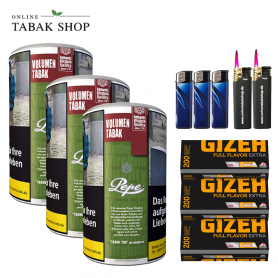 3 x Pepe Rich Green Volumentabak Tabak 85g , 600 Gizeh Extra Flavor Hülsen , 2 Sturmfeuerzeuge 3 Feuerzeuge