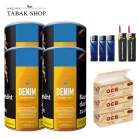 4x Denim Volumentabak 90g, 750 OCB Organic Hülsen , 3 Feuerzeuge und 2 Sturmfeuerzeuge - 57,50€