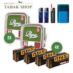 Pepe Rich Green Volumentabak (2 x 170g) + 800 GIZEH Full Flavor EXTRA Hülsen + 2 Feuerzeuge + 1 Sturmfeuerzeug + 1 GIZEH Etui