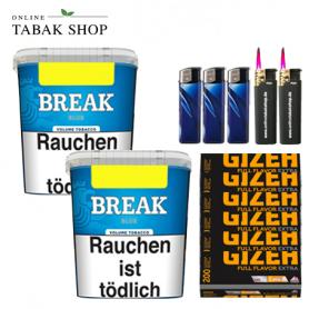 2x Break Blau Original Volumentabak 230g ,1200 Gizeh Extra Hülsen , 3 Feuerzeuge , 2 Sturmfeuerzeuge