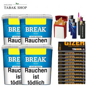 4x Break Blau Original Volumentabak 230g, 2000 Gizeh Extra Hülsen, 3 Feuerzeuge , 2 Sturmfeuerzeuge , 1 Gizeh Etui